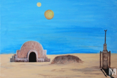 Tatooine, Acrylic on 16×20″ canvas