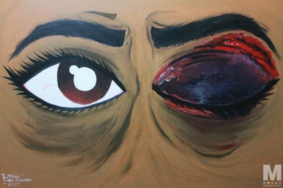 "Battle Scars/Warrior Eyes, Acrylic on 24x36"" canvas"